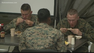 500 Marines treated to home-cooked meals at Blount Island