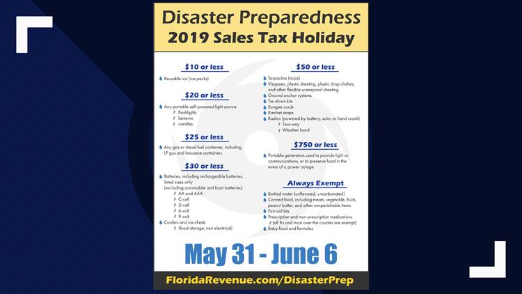 disaster preparedness tax holiday