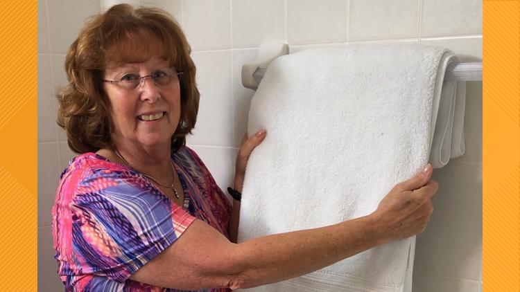Woman believes her husband 'from up above' tugged her towel to help her discover her breast cancer
