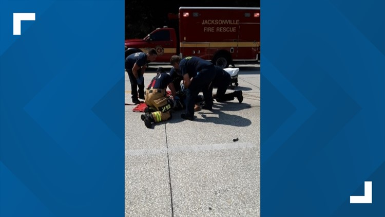 Joshua Davis being saved by First Responders after crashing on Memorial Day