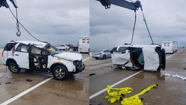 Divers ending search for people in SUV that crashed of the Howard Frankland  Bridge