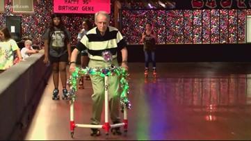 Man celebrates turning 95 at the skating rink