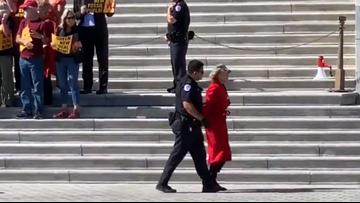 Jane Fonda arrested on steps of US Capitol Building protesting climate change
