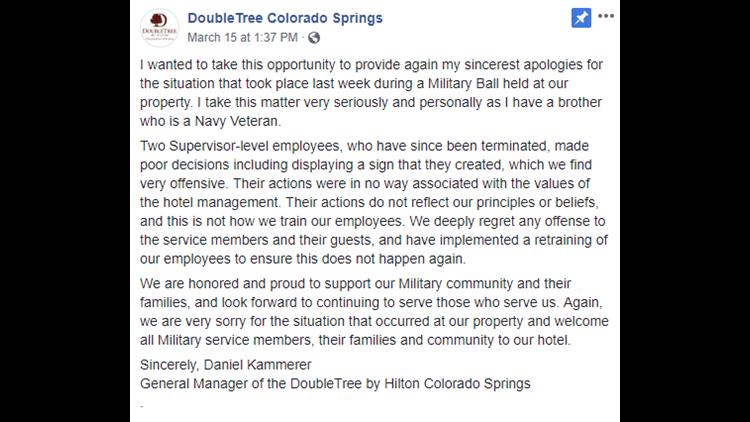 DoubleTree Colorado Springs statement