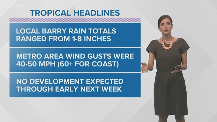 Tropical Storm Barry's center moves west-northwest, top winds 50 mph